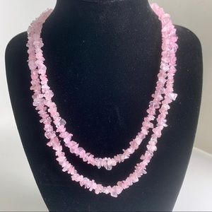 Rose colored beaded necklace, 17.5""